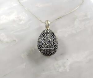 """Sterling Silver Chain Necklace w Marcasite Pendant 19"""" ~ 10.5 g ~ 6-K1192"""
