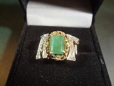 """14K gold with Jade and diamonds custom initial ring """"AF"""" 5 grams"""