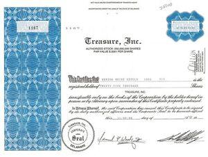 Treasure, Inc. > Mature Concepts 1986 stock certificate share