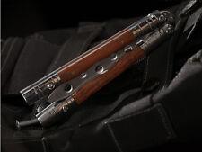 Practice BALISONG Wood Steel Handle METAL BUTTERFLY Trainer Knife + Sheath