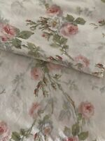 Vintage RALPH LAUREN Pink Cottage Rose Floral Twin Flat Sheet Gorgeous!