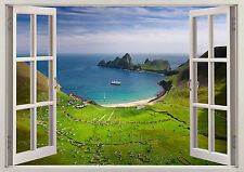 3D Window Effect View Mountain Lake Water Perfect Sticker Wall Poster Vinyl