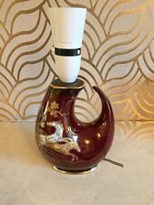 Beautiful Crown Devon Red Lustre Lamp With Horse Design