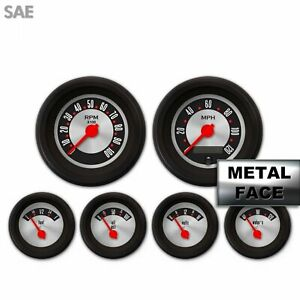 6 Gauge Speedo Tach Oil Temp Fuel Volt LED SAE Retro Rodder III Red Black Series