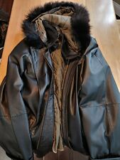 Midnight Velvet Genuine Leather & REAL Fox Fur Trim Coat Jacket. Free shipping.