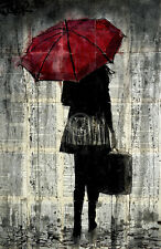 ART PRINT - Feels Like Rain by Loui Jover Red Umbrella Suitcase Poster 11x14