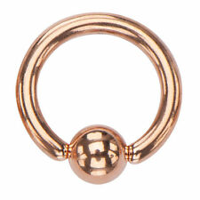 Rose Gold Plated Captive Bead Ring Body Jewelry 18g 16g 14g