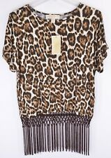 Michael Kors Top S Chocolate Leopard Print Short Sleeve Fringed Blouse NEW 5162