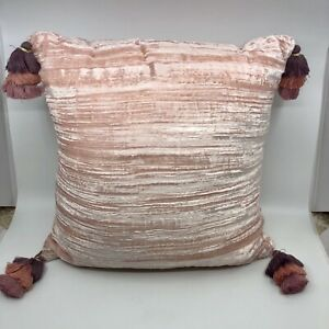 Opalhouse Accents  Pink Crinkle Velvet Decorative Throw Pillow Corner Tassles