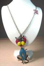 New Betsey Johnson Big Sitting Cartoon Cat Pendant Silver Chain Necklace