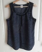 Cabi Womens Navy Blue Palm Printed Embellished Beaded Tank Top Blouse Size Small