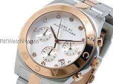 NEW MARC JACOBS ROSE GOLD TONE BEZEL SILVER DIAL  CHRONO LADIES WATCH MBM3178