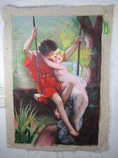 Romeo & Julia, sinnliche Akt Darstellung Busen in Seide,Gemälde ~1975 92cm
