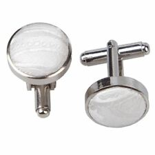 Paisley Silver Plated Cufflinks- ivory
