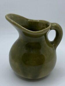 Vintage Handmade USA Colorado Pottery Green Glazed Mini Pitcher Creamer