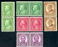USAstamps Unused FVF US 1923 Rotary Coil Pairs Scott 557 / 605 OG MNH 600 MLH