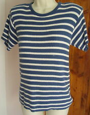 Liz Sport S Blue White Ribbed Stripe SS Sweater Padded Shoulders Thick Texture