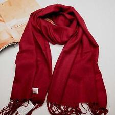 New Women's Dark Red 100% Cashmere Solid Winter Warm Long Scarf Shawl Wrap
