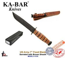 "Ka-Bar US Army 7"" Fixed Blade Knife Serrated Leather Handle + Brown Sheath 1219"