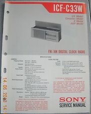 SONY ICF-C33W FM/AM Digital Clock Radio Service Manual