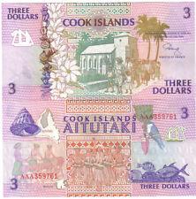 COOK ISLANDS 3 DOLLARS 1992 PICK 7 UNC