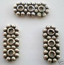 40 x Tibetan Silver Flower 3 hole Spacer Bar Lead Free