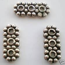40 x tibetan silver fleur 3 Trous Espaceur bar sans plomb