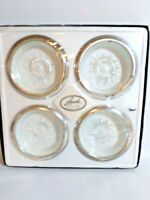 Vintage Leonard Silver Mfg. 4 Piece Coaster Set. Silver Plate And Crystal Italy