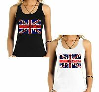 Velocitee Ladies Vest British & Proud UK Union Jack Flag V185