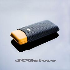Cohiba Yellow Black All Leather 3 Ct Cigar Case Travel Holder