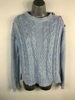 WOMENS MARKS & SPENCER LIGHT BLUE KNIT  CREW NECK CASUAL PULLOVER JUMPER SIZE 10