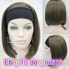 Ladies Cute Short BOB 3/4 wig with headband Brown mix straight half wigs