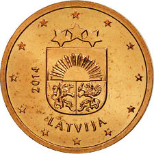 [#461588] Latvia, 2 Euro Cent, 2014, Copper Plated Steel, KM:151