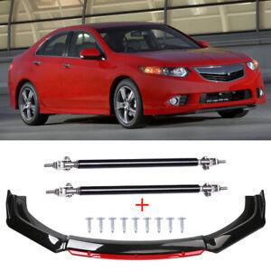 For Acura TSX 2009-2014 Black&Red Front Bumper Lip Spoiler Splitter + Strut Rods