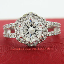 Genuine Solid 9ct White Gold Engagement Wedding Flower Rings Simulated Diamonds