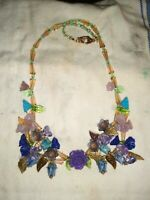 Imported Handcrafted Flower Beads , Crystals And Gold trimmed Necklace