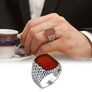 Solid 925 Sterling Silver Chain Design Flat Agate Stone Men's Ring