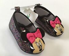 NWT Disney Baby Minnie Mouse Black Sparkle Glitter Crib Shoes Sz 6-9 Months