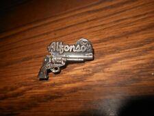 "UNIQUE ""ALFONSO'S"" SIX SHOOTER GUN LAPEL / HAT PIN - SILVER"