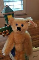 "Adorable SPLASH the STEIFF Bear Beneath the Street Light - 8"" mohair blonde bear"