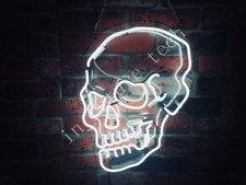 "New Haunted Skull White Neon Light Sign 24""x20"" Acrylic Lamp Beer Real Glass Bar"