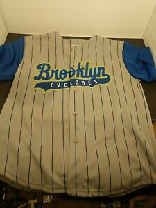 Brooklyn Cyclones Jersey Large Gray & Blue pinstripe