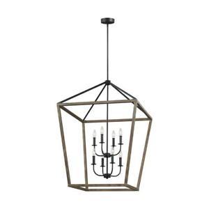 Feiss Chandelier 8-Light Weathered Oak Wood Cage Style Lantern