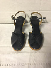 Vintage Connie Navy Sling Open Toe Sandals 8N