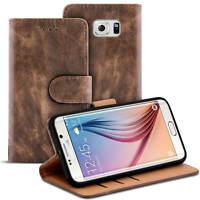Handy Tasche für Samsung Galaxy S6 Edge Hülle Case Schutzhülle Flip Cover Braun