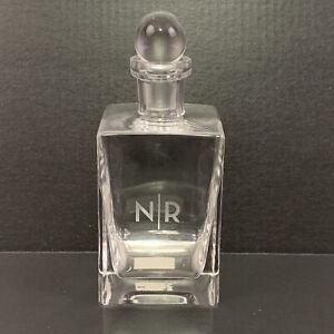Pottery Barn Square Hand Blown Glass Liquor Decanter Monogram N/R #6286