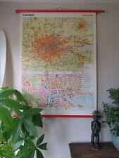 VINTAGE ROLL DOWN PULL DOWN  SCHOOL WALL CITY MAP OF LONDON WESTERMANN