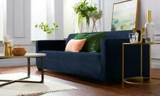 Velvet Plush Stretch Fit One Piece Soft Slipcover Couch Cover, Sofa, Navy 70""