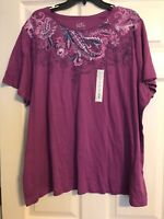 Croft & Barrow Plus 3X XXX Women's Classic Tee Purple Floral Short Sleeve NWT