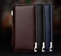 New Mens Genuine Leather ZIP Card Holder Flip Phones Purse Clutch Long Wallet